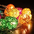 FRE 3M Multi-color 20 Rattan Ball Fairy Lights String Lights - Ideal for Wedding, Christmas, Party,Home Decoration - inexpensive UK light store.