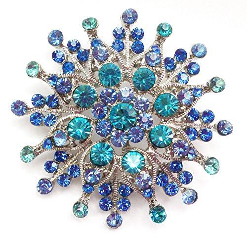 Große Braut Strass Kristall Ansteck Brosche Sternförmig Türkis Blau (BR036)