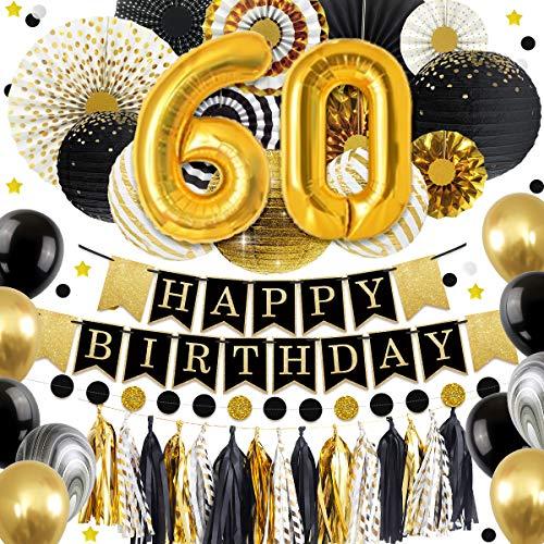 NICROLANDEE 60 Geburtstag Dekorationen Ballon Banner - Glitter Happy Birthday Banner schwarz und Gold Papier Laterne Papier Fan Papier Tissue Quaste für Geburtstag Jubiläum Dekor Party Supplies (60.) (Happy Glitter Banner Birthday)