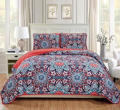 FANCY LINEN 3-teiliges Tagesdecken-Set, Übergröße, Bettbezug mit Blumen, Rosa/Rot/Hellrosa/Türkis/Marineblau/Weiß Full/Queen pink/rot