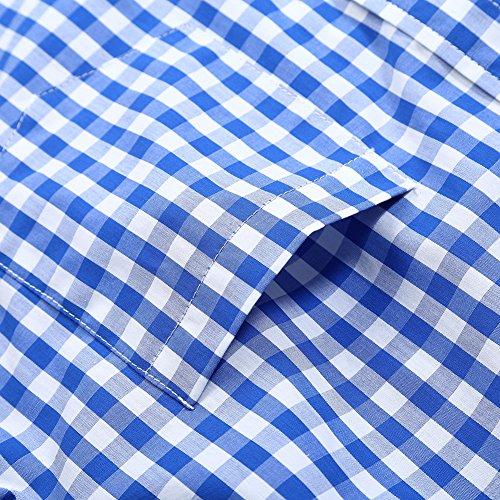 KoJooin Trachten Herren Hemd Trachtenhemd Langarmhemd Freizeithemd Baumwolle - für Oktoberfest, Business, Freizeit (Blau M) - 5