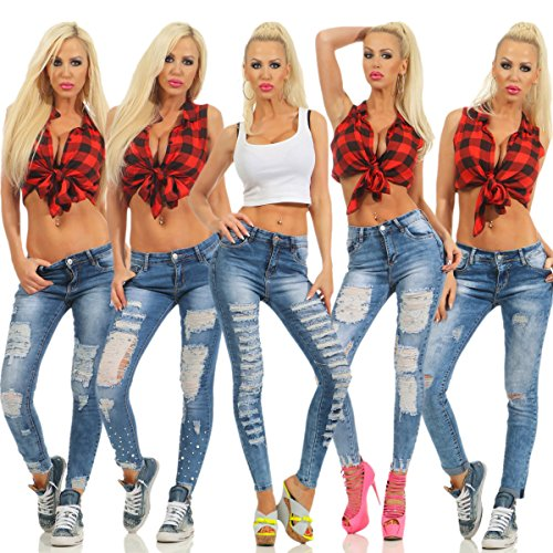 Fashion4Young Damen Jeans Röhre Skinny Damenjeans Stretch Denim Destroyed Cut-Outs Risse 5442-blau