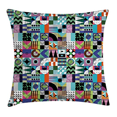 Kotdeqay Mid Century Throw Pillow Cushion Cover, Mix of Various Different Geometric Shapes in Squares Funky Sixties Revival