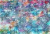Kate 7x5ft Blaue Graffiti-Wand-Fotografie-Hintergrund-Malerei-Ziegelstein-Hintergrund-Foto