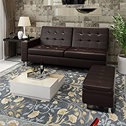 Wellgarden Morden Brown Faux Leather Corner Sofa Bed Recliner Sofabed 3 Seater Storage Sofabed Couch Sleeper Bed with Ottoman Foot Stool and Cup Holder