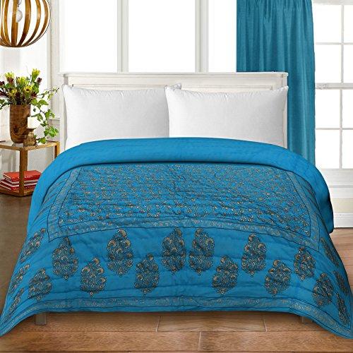 Bedding King traditional Jaipuri Print 100% Pure Cotton Single Bed Quilt/Razai Size...