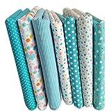 SODIAL 7 pezzi 50cm * 50cm cotone piccolo stampato floreale tessuto di cotone per stoffa per cucire patchwork quilting fatti a mano tessuti DIY(Blu chiaro)