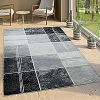 Paco Home Alfombra De Diseño - A Cuadros Efecto Mármol - Jaspeado Gris Negro Blanco, tamaño:160x230 cm