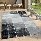 Paco Home Tappeto Di Design Moderno A Quadri Effetto Marmo Mélange Grigio Nero Bianco, Dimensione:120x170 cm