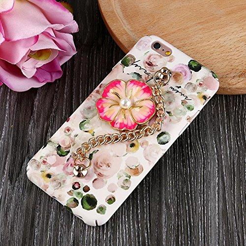 Sunroyal Coque pour iPhone 6 6S (4,7 pouces) Case 3D Diamant Bling Pearl Luxe Cae Housse PC Plastic Hard Back Cover Ultra Slim Bling Strass Motif Camélia étincelle Bling Brillant Bracelet Skin Cristal Fleur 01