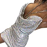 Vovotrade Womens Fashion Sexy V-Cou Robe Dos Nu Paillettes Dames Kendall Chain Choker Slip Femmes Dress (Silver, M)