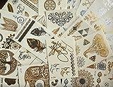 10 kleine Sheets METALLIC TATTOO EINMALTATTOO GOLD SILBER TATTOO Schmuck Tattoo Kleber für Körper