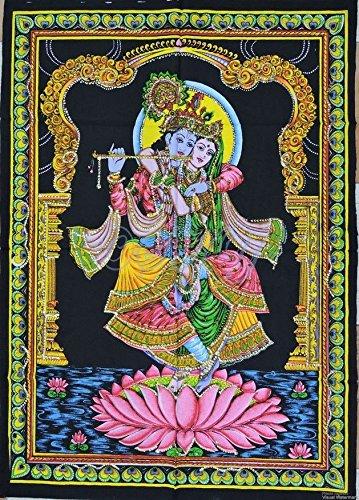 Sophia Kunst Indischen Wandbehang Baumwolle Hindu Gott Krishna mit Radha Rani-Baumwolle Gemälde Poster Plakat