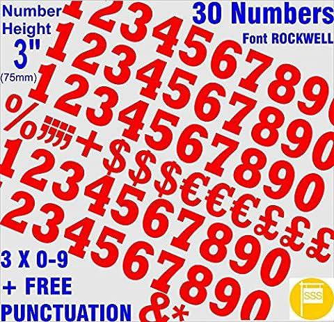 7,6cm (75mm) Rouge Chiffres Stickers autocollants en vinyle de qualité Lettrage Cut individuels gratuit ponctuation