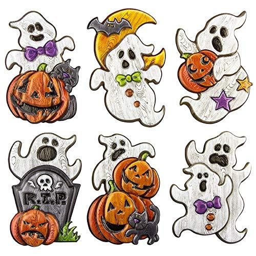 Sticker | Aufkleber | Abziehbilder | Stickerbögen mit diversen Motiven | Halloween | Bogengröße 18 x 17,5 cm (Geister Holzoptik)