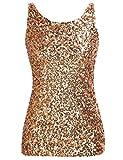PrettyGuide,Damen Shimmer Glam Pailletten verziertes Sparkle Traegershirt, Gr. XL (Herstellergroesse XXL),Gold