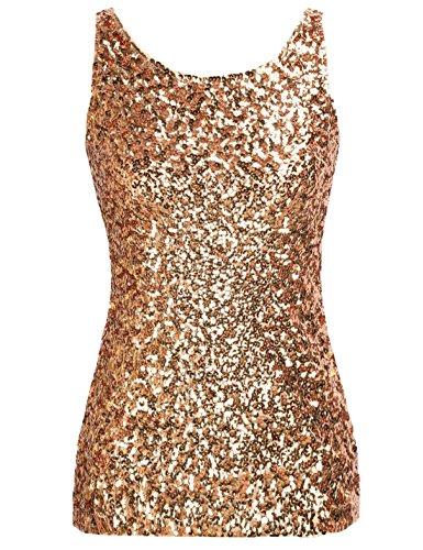 PrettyGuide,Damen Shimmer Glam Pailletten verziertes Sparkle Traegershirt, Gr. XS (Herstellergroesse S), - Gold-pailletten-shirt