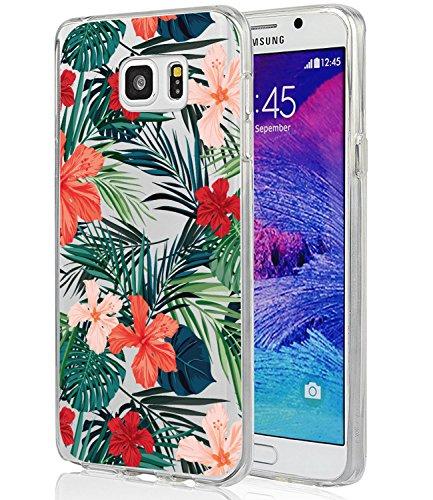 Galaxy Note 5, Note 5Hülle mit Blumen, baisrke Slim stoßfest transparent Floral Muster weiche Biegsame TPU Back Cove für Samsung Galaxy Note 5[Purple Pink], Palm Tree Leaves -