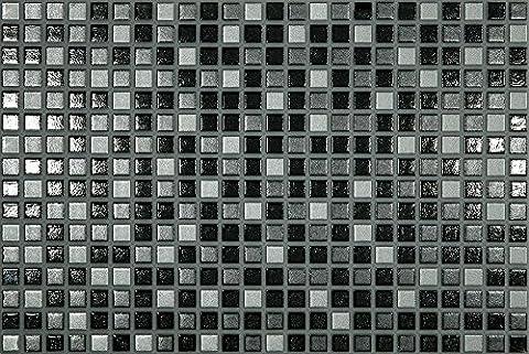 Black and Grey Small Square Mosaic Ceramic Gloss Wall Tiles Bathroom Kitchen - 25 cm x 40 cm