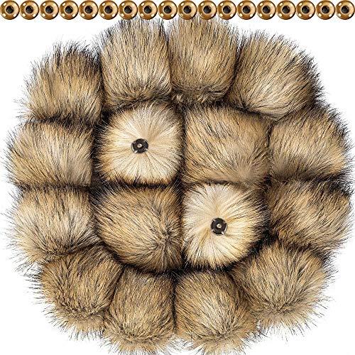Fai da te finta pelliccia pom pon palla con bottone premere pompon rimovibile lanuginoso per maglieria cappelli scarpe sciarpe borsa accessori (colore naturale, 16)