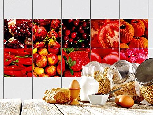 Design Kürbis (Graz Design® Dekofliesen Wandfliesen selbstklebend für die Küche Set Erdbeeren Tomate Kürbis (15x15cm // Set 10)