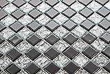 Glas Mosaik Fliesen Matte Schachbrett Format mit Silber Reflektor Struktur und solidem Schwarz (MT0007 10cm x 10cm Muster)