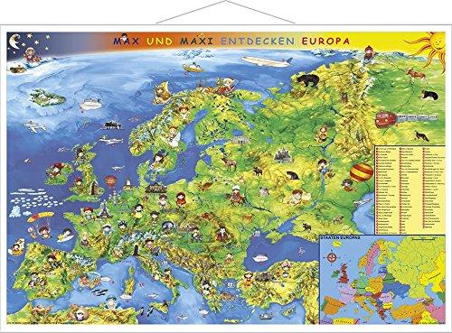 Europakarte Kindereuropakarte, 95 x 65 cm mit Metallleiste