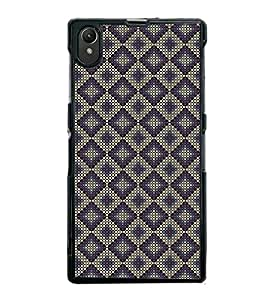 Fuson Premium 2D Back Case Cover Purple colour Hexagon pattern With black Background Degined For Sony Xperia Z1::Sony Xperia Z1 L39h