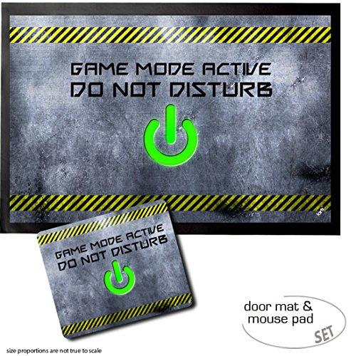 Set: 1 Fußmatte Türmatte (60x40 cm) + 1 Mauspad (23x19 cm) - Gaming, Game Mode Active, Do Not Disturb