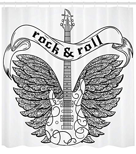 tgyew Rock and Roll Shower Curtain, Calligraphic Text Guitar Icon Ornamental Tribal Feathers Artful Print, Cloth Fabric Bathroom Decor Set with Hooks, 72x72 inches, Black and White