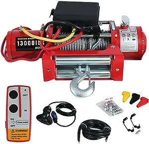 Kitechildhrrd Elektrische Seilwinde 12v Motorwinde 5909 Kg 13000 Lb Offroad 12 Volt Funkfernbedienung Rot Auto