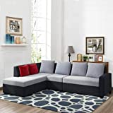 Furny Nestar Fabric LHS 6 Seater L Shape Sofa Set  Grey Black