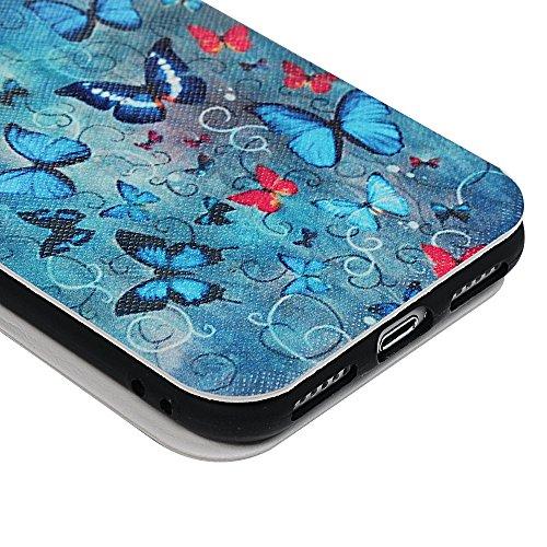 Lanveni iPhone 7 Hülle, Handyhülle für Flip Case Cover PU Lederhülle Schutzhülle Magnetverschluss Ledertasche mit Stander Function Brieftasche Card Slot Handy Tasche mit Bunte Gemalt Design für iPhone Blauer Schmetterling