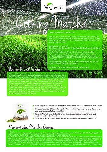 BIO Matcha para Cocinar Vegavero® 100g | Grado Culinario | Ideal para Hornear - Recetas - Batidos - Matcha Latte | Orgánico | Sin Aditivos