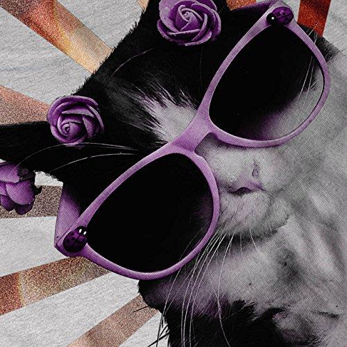 Katze Brille Blume Komisch Genial Beute Damen Schwarz S-2XL Muskelshirt   Wellcoda Grau