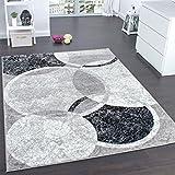 Alfombra De Diseño Para Sala De Estar Con Grabado De Círculos Gris Crema, Grösse:80x150 cm