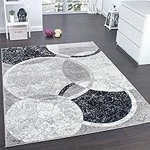 Paco Home - Alfombra con grabados de circulos, gris con crema,  80 x 150 cm