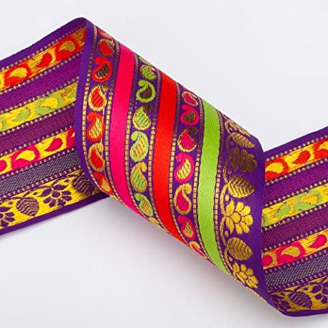 Neotrims Sari Salwar Wholesale Ribbon, Paisley Stripes Design by the Yard 9cm. Beautiful 9cm wide ribbon; Beautiful Paisley India Jacquard designs, Traditional Paisley Jacquard sari Indian ribbon border; Great For Crafts and Hobbies; 2 Beautiful Colour options Violet Base with Gold Thread, Lime; Orange; Cerise and Cerise base with Gold thread and Lime; Violet; Turquoise. Great Price. Great Quality. Washable.