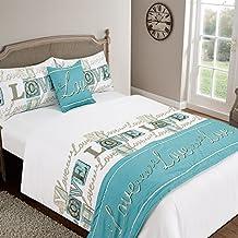 Love You funda de edredón cama en una bolsa funda de cojín Runner sábana bajera ajustable, poliéster, verde azulado, 135 x 1 x 200 cm