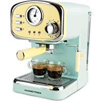 GOURMETmaxx Elektrische Siebträger Espressomaschine im Retrodesign mit analoger Temperaturanzeige | Inklusive…