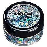 Paillettes en formes Holographiques par Moon Glitter (Paillette Lune) – 100% de paillettes cosmétique pour le visage, le corps, les ongles, les cheveux et les lèvres - 3g - Argent
