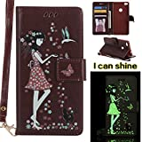 Huawei P8 Lite 2017 Case, Huawei P8 Lite 2017 Case [Brown],Huawei P8 Lite 2017 Luminous Case, Cozy Hut [Night Luminous] [Wallet Case] Magnetic Flip Book Style Cover Case ,Glow in the Dark Creative Design Cat and woman Pattern Design Premium PU Leather Folding Wallet Case With [Lanyard Strap] and [Credit Card Slots] Stand Function Folio Protective Holder Perfect Fit For Huawei P8 Lite 2017 - brown