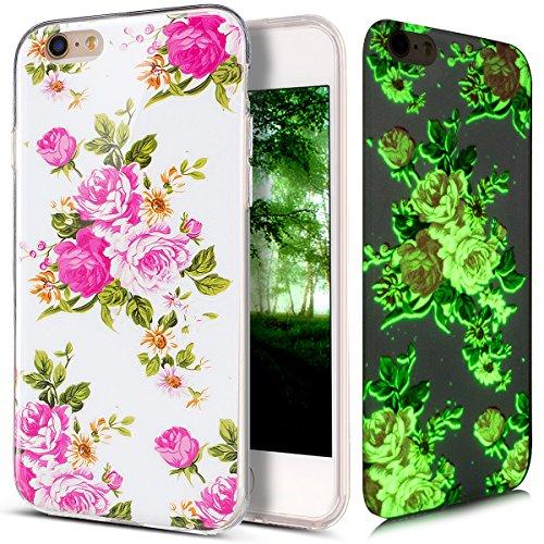 Coque iPhone 6S, Étui iPhone 6, iPhone 6S/iPhone 6 Case, ikasus® Coque iPhone 6S/iPhone 6 Effet lumineux Fluoré fluorescent Brillent dans le noir Housse en caoutchouc IMD TPU Silicone Étui [Résistant  Une rose