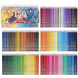 150 Lápices de acuarela, Solubles en Agua Lápices para colorear para adultos Libros arte suministros