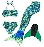 Superstar88 Mädchen Cosplay Kostüm Badebekleidung Meerjungfrau Shell Badeanzug 3pcs Bikini Sets Tolle Geschenksidee ! (140, HOPEFULL Green)
