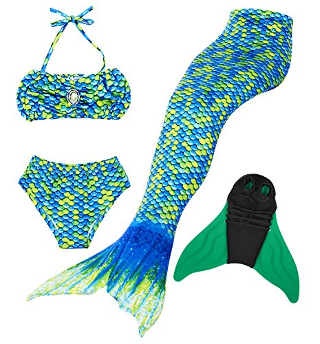 Cosplay Kostüm Badebekleidung Meerjungfrau Shell Badeanzug 3pcs Bikini Sets Tolle Geschenksidee ! (120, HOPEFULL Green) (Einfaches Cosplay Kostüme)