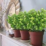 MIHOUNION 4 Bündel Künstliche Pflanzen Gefälschte Künstliche Sträucher Blumenstrauß Evergreen Sträucher für den Tisch Hochzeit Jeder zimmer Blumengestecke Deko - 5