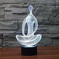 Youzone Magico pannello di visualizzazione 3D Optical Illusion 7 colori cambiano USB tocco interruttore della lampada della Tabella Bulbing luce notturna a LED illuminazione domestica decorazione luci domestici (meditazione seduta)