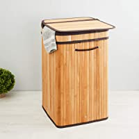 Home Centre Hudson Bamboo Laundry Hamper 35x35x60 cms