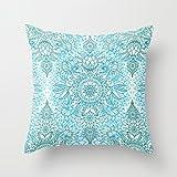 Best Home Fashion Designs Covers Sofa - Taie d'oreiller Motif design Bleu turquoise/sarcelle et blanc Review